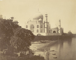 [View of the Taj Mahal from the banks of the Jumna, Agra.]